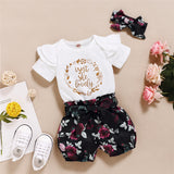 Baby Girls Short Sleeve Letter Romper & Floral Shorts & Headband Wholesale Baby Clothes