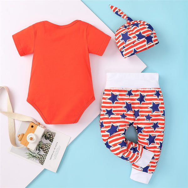 Baby Unisex Short Sleeve Letter Romper & Striped Star Pants & Hat baby clothing wholesale