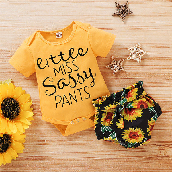 Baby Girls Short Sleeve Letter Romper & Sunflower Shorts wholesale baby clothes usa