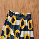 Girls Short Sleeve Letter Sunflower Printed Top & Flared Pants trendy kids wholesale clothing