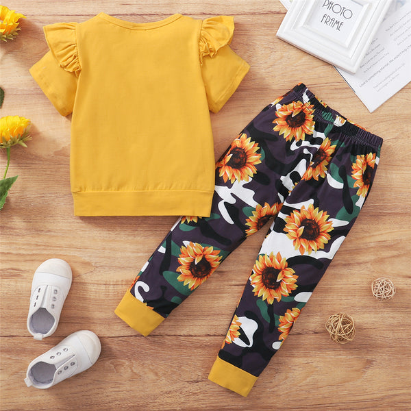 Girls Short Sleeve Letter Sunflower Printed Top & Pants kids clothes wholesale