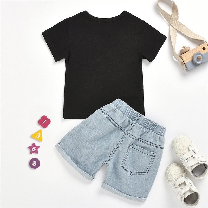 Baby Boy Short Sleeve Like A Boss T-shirt & Denim Shorts Baby Clothes Wholesale Bulk