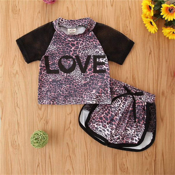 Girls Short Sleeve Love Leopard Printed Top & Shorts Girls Clothes Wholesale