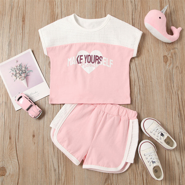 Girls Short Sleeve Make Yourself Proud Printed Top & Shorts Wholesale Childrens Boutique Clothing Suppliers
