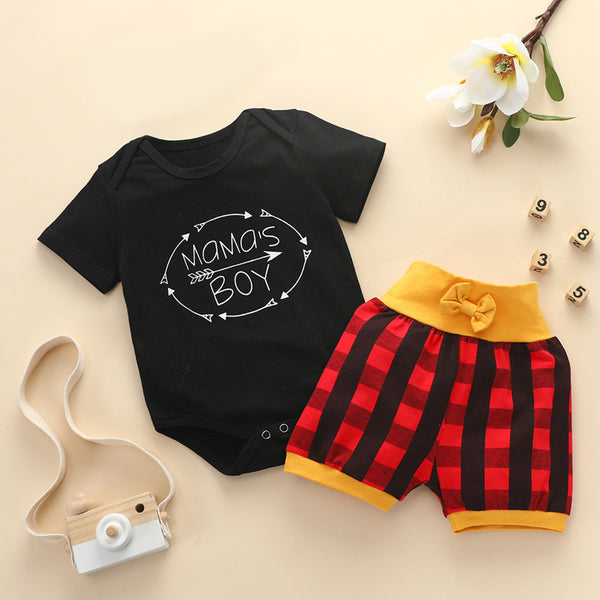 Baby Boys Short Sleeve Mamas Boy Romper & Plaid Shorts Wholesale Baby Clothes