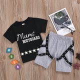 Boys Short Sleeve Mums Bodyguard Star Printed Top & Shorts Wholesale Boys Suits