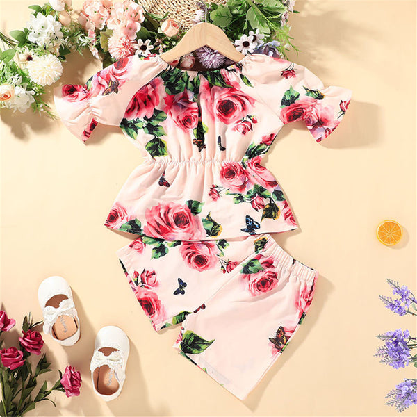Girls Short Sleeve Floral Printed Fashion Top & Shorts wholesale childrens clothing