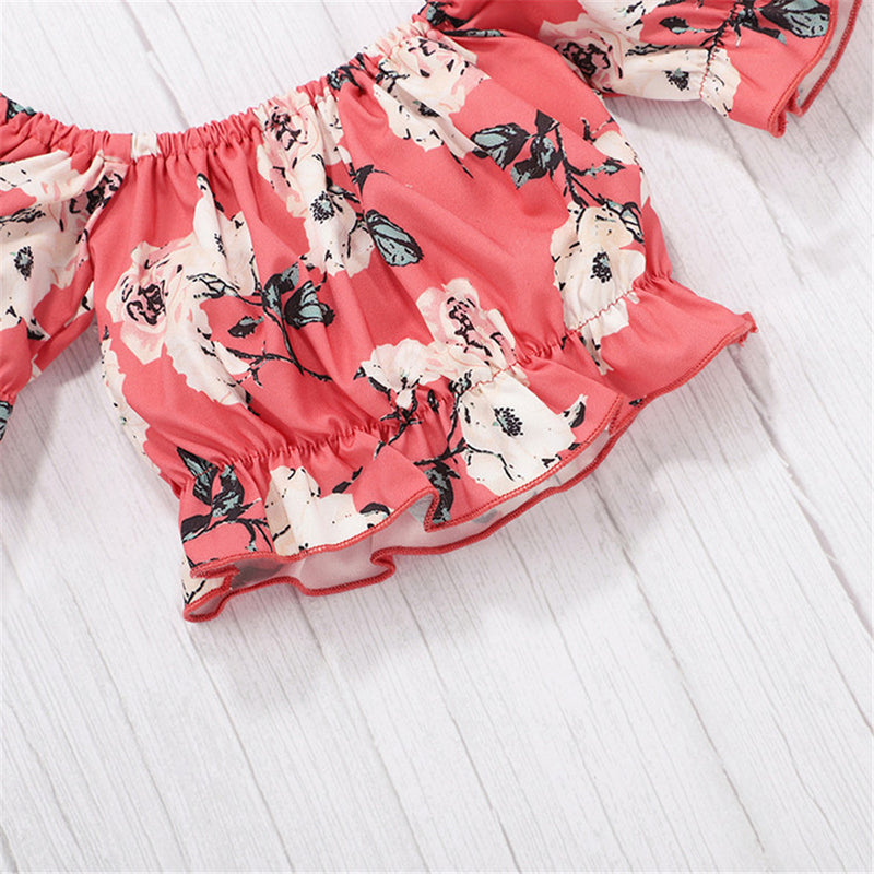 Baby Girls Short Sleeve Off Shoulder Floral Printed Top & Shorts Kids Wholesale Clothing