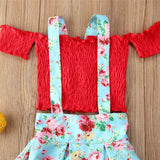 Girls Short Sleeve Off Shoulder Top & Suspender Skirt Wholesale Boutique Kid Clothing
