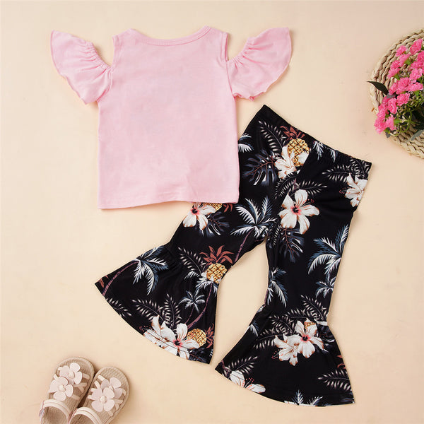 Girls Short Sleeve Pineapple Hello Summer Printed Top & Floral Flared Pants Children Clothes Wholesale Usa