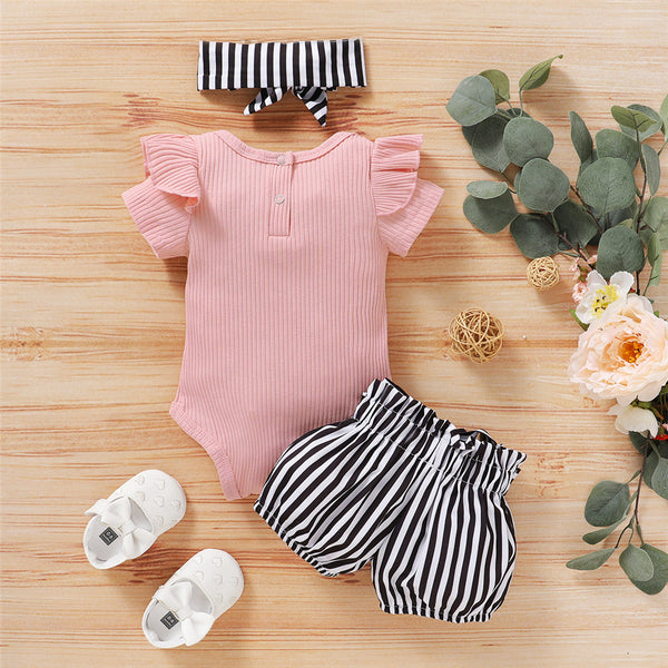 Baby Girls Short Sleeve Pink Ruffled Romper & Striped Shorts & Headband Wholesale Baby Clothes