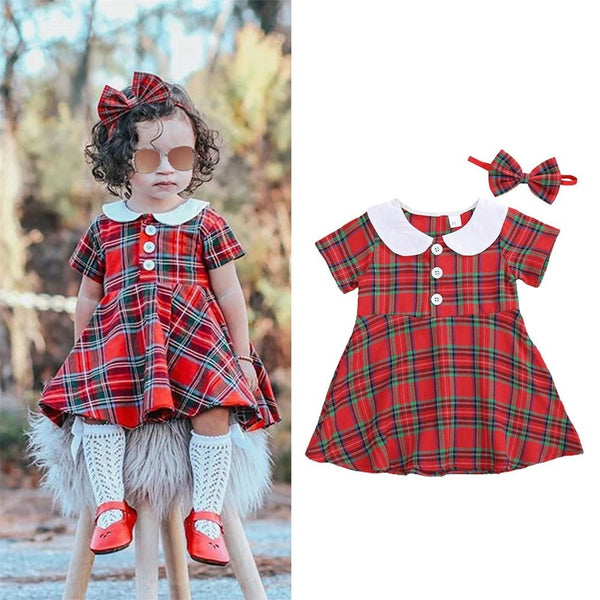 Baby Girls Short Sleeve Plaid Doll Collar Dress & Headband cheap baby clothes wholesale