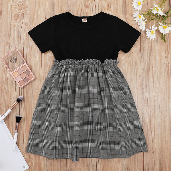 Girls Short Sleeve Plaid Splicing Casual Dress wholesale childrens clothing distributors