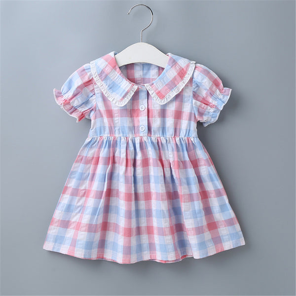 Baby Girls Short Sleeve Plaid Sweet Dresses Baby Clothes Wholesale Bulk