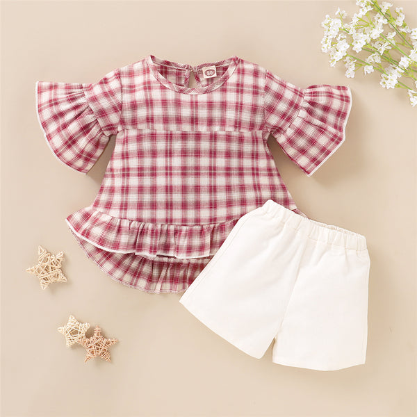 Girls Short Sleeve Plaid Top & Shorts kids clothes wholesale