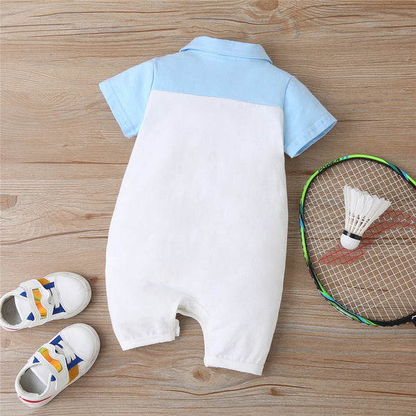 Baby Boys Short Sleeve Play Time Cartoon Lapel Romper wholesale toddler boutique clothing