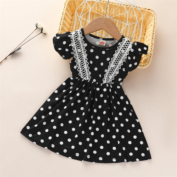 Baby Girls Short Sleeve Polka Dot Printed Casual Dress Wholesale Boutique Girl Clothing