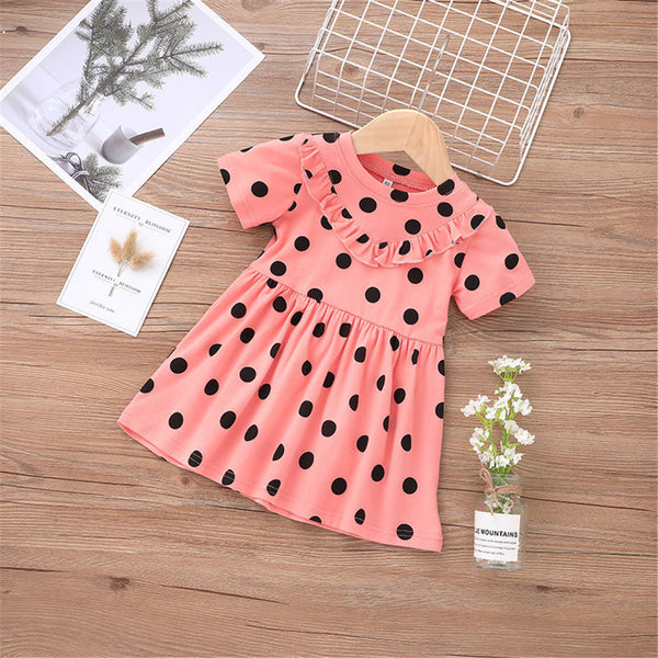 Baby Girls Short Sleeve Polka Dot Printed Dresses Baby Summer Dress