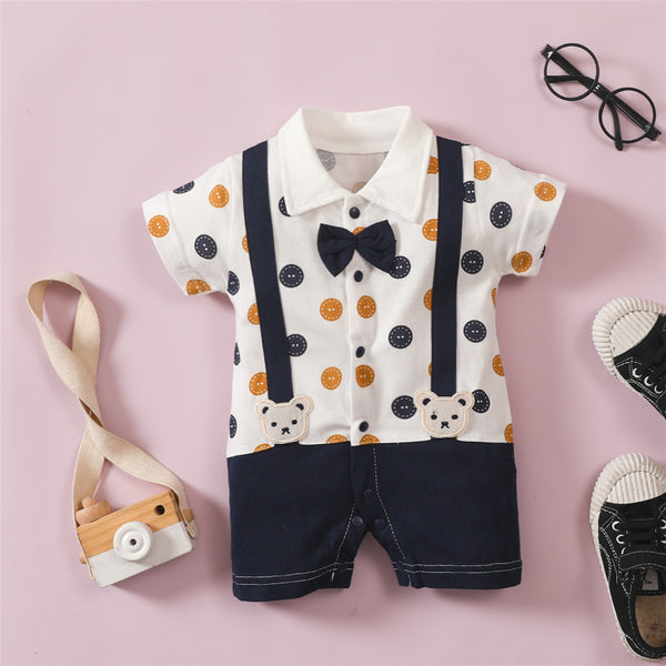 Baby Boys Short Sleeve Polka Dot Rompers wholesale baby clothing