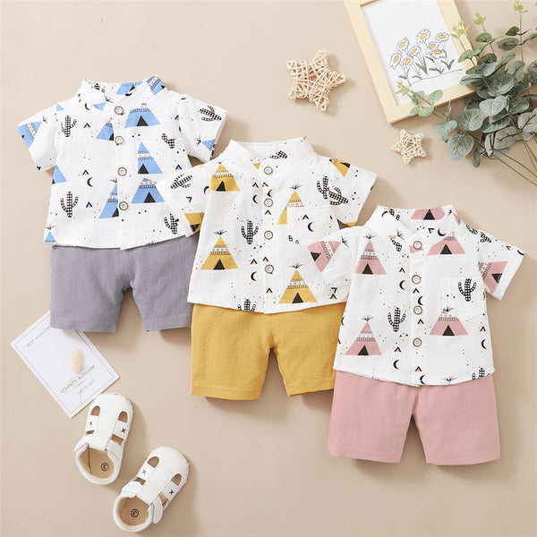 Baby Boys Short Sleeve Printed Lapel Shirts & Shorts baby boy clothes wholesale