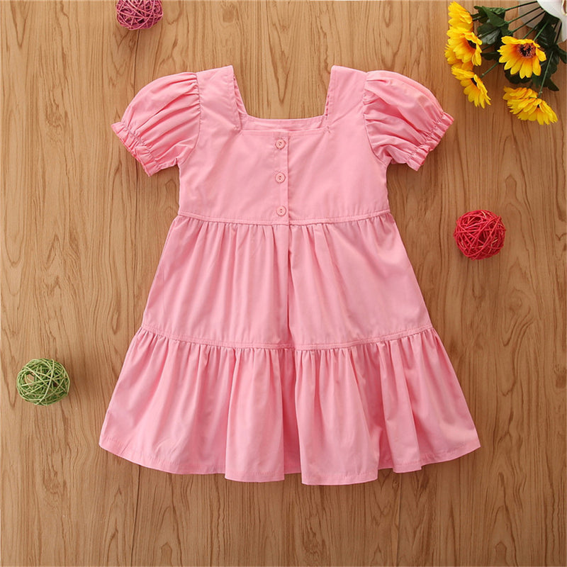 Girls Short Sleeve Rainbow Embroidery Princess Dress Wholesale Girl Boutique Clothing