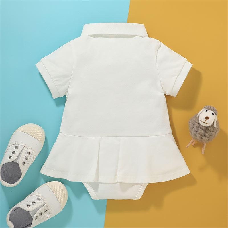Baby Girl Short Sleeve Rainbow Lapel Romper baby clothes wholesale