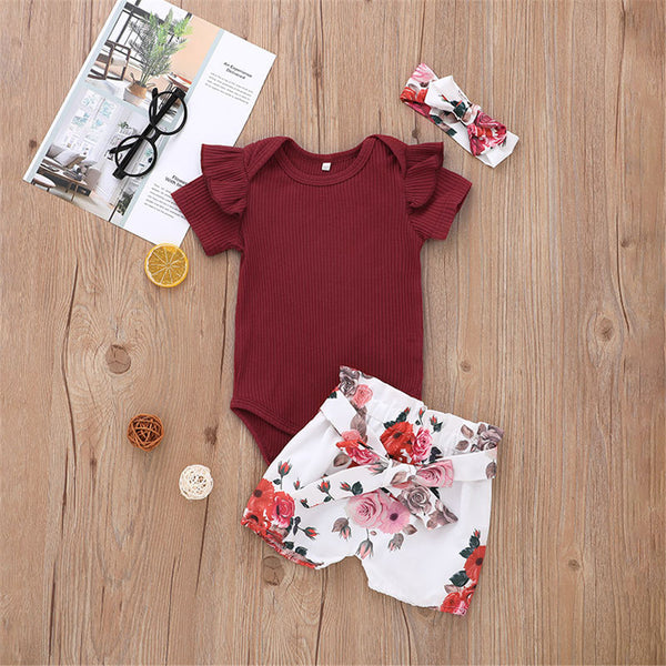 Baby Girls Short Sleeve Romper & Floral Shorts & Headband Wholesale Baby Clothes