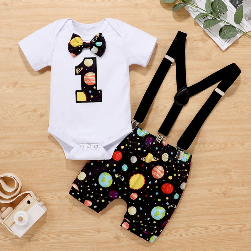 Baby Boys Short Sleeve Romper & Printed Overalls Wholesale Baby Clothes In Bulk