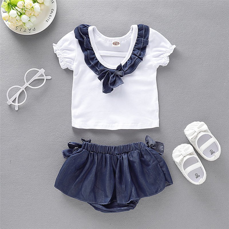 Baby Girls Short Sleeve Ruffle Top & Shorts Baby Clothes Vendors