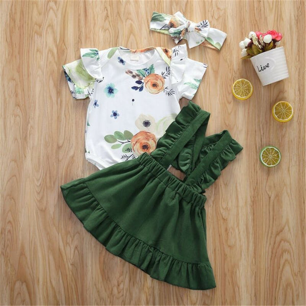 Baby Girls Short Sleeve Ruffled Floral Printed Romper & Suspender Skirt & Headband wholesale baby clothes