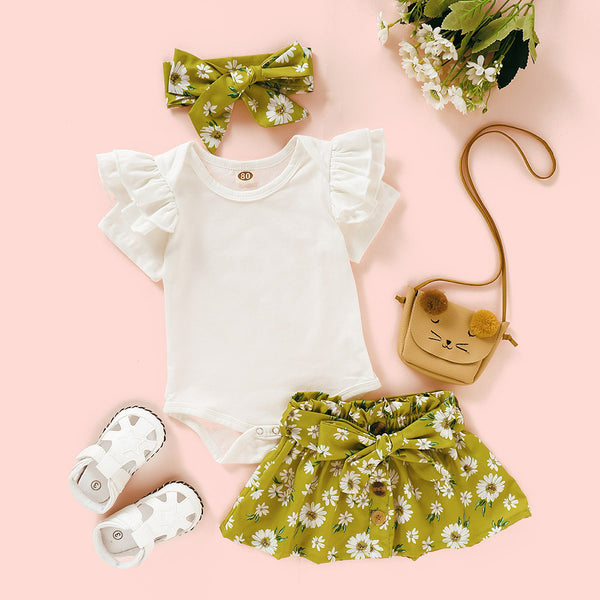 Baby Girls Short Sleeve Ruffled Romper & & Floral Skirt & Headband Baby Clothes Cheap Wholesale