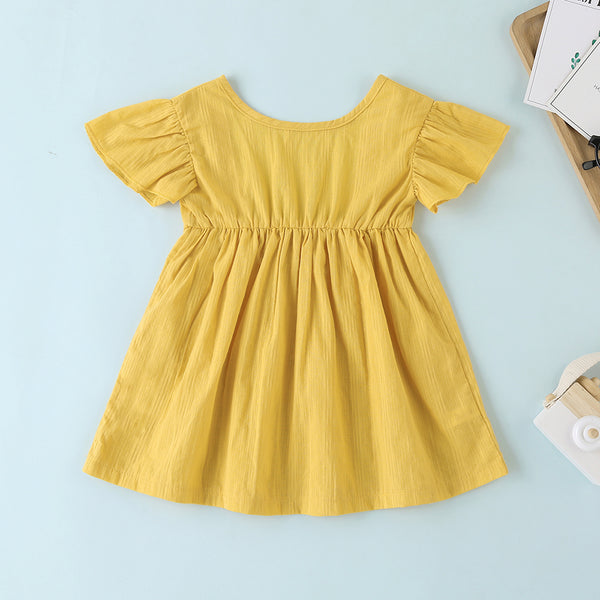 Baby Girls Short Sleeve Solid Color Casual Dress baby clothes vendors