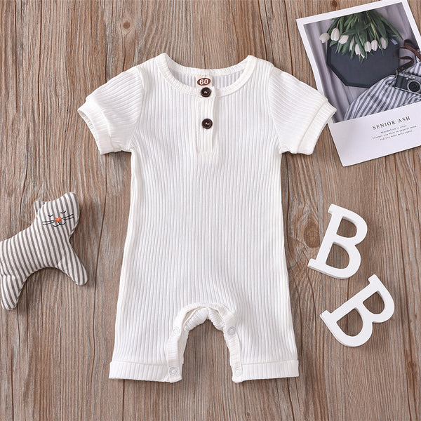 Baby Unisex Short Sleeve Solid Color Cute Romper bulk baby clothes