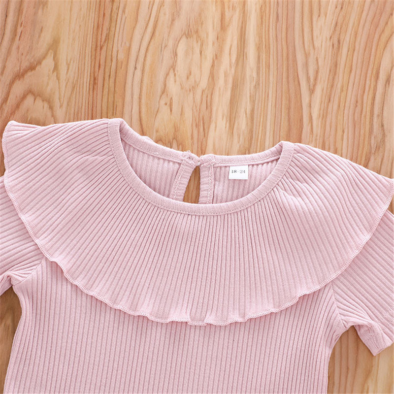 Girls Short Sleeve Solid Color Lotus Leaf Collar T-shirt Wholesale Girl Clothing