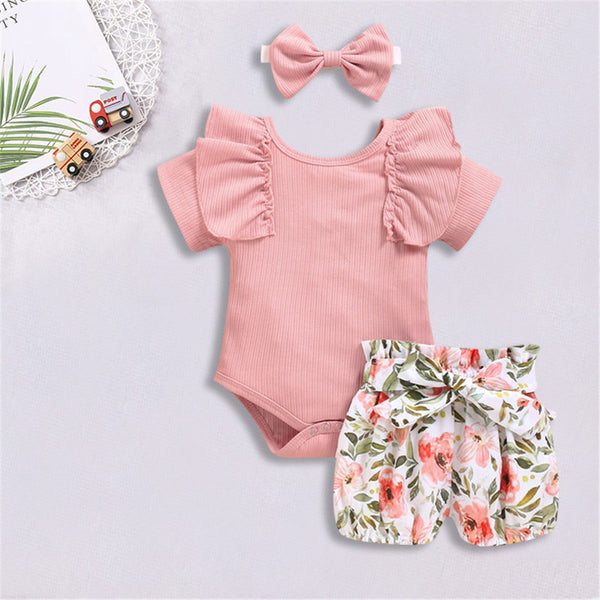 Baby Girls Short Sleeve Solid Color Romper & Shorts & Headband Baby Wholesale Clothing Suppliers