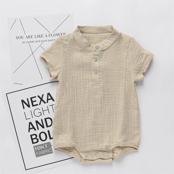 Baby Unisex Short Sleeve Solid Color Romper wholesale baby boutique clothing