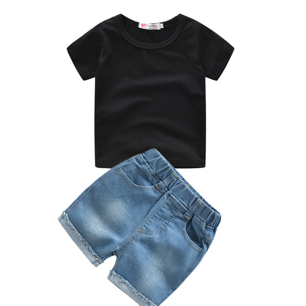 Boys Short Sleeve Solid Color Top & Denim Shorts trendy kids wholesale clothing