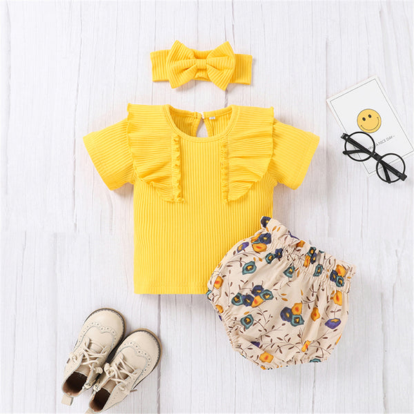 Baby Girls Short Sleeve Solid Color Top & Floral Shorts & Headband baby clothes wholesale distributors