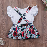Girls Short Sleeve Solid Color Top & Floral Suspender Skirt Wholesale Baby Girl Clothes