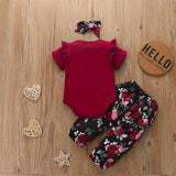 Baby Girls Short Sleeve Solid Crew Neck Romper & Floral Pants & Headband Baby Outfits
