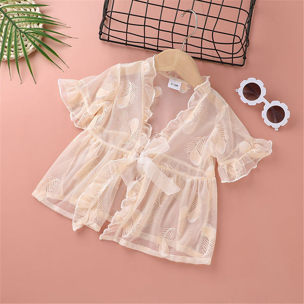 Baby Girls Short Sleeve Solid Mesh Top cheap baby clothes wholesale