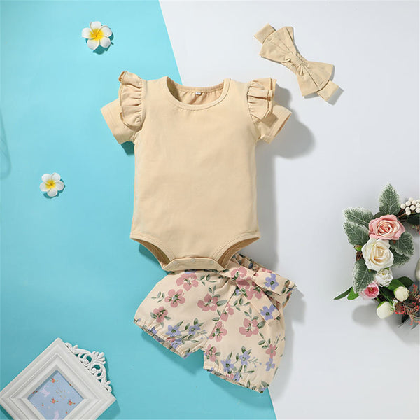 Baby Girls Short Sleeve Solid Romper & Floral Shorts & Headband baby clothes wholesale