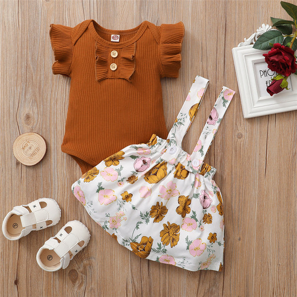 Baby Girls Short Sleeve Solid Romper & Floral Suspender Skirt Baby Boutique Clothing Wholesale