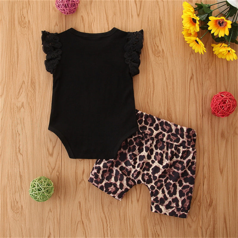 Baby Girls Short Sleeve Solid Romper & Leopard Shorts Babywear Wholesale