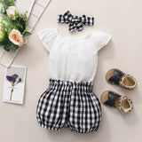 Baby Girls Short Sleeve Solid Romper & Plaid Shorts & Headband Baby Clothes Wholesale Bulk
