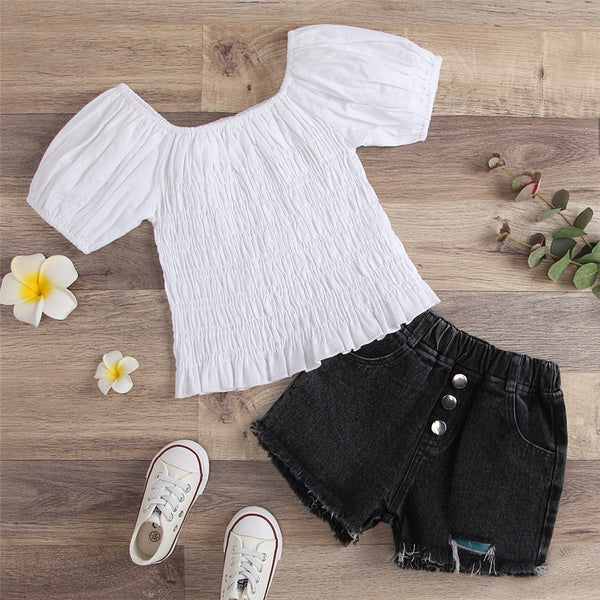 Girls Short Sleeve Solid Top & Denim Shorts wholesale kids clothing