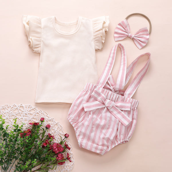 Girls Short Sleeve Solid Top & Striped Overalls & Headband wholesale childrens clothing online