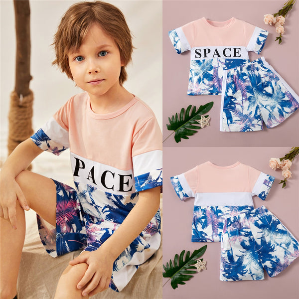Boys Short Sleeve Space Letter Leaf Printed T-shirt & Shorts kids boutique wholesale