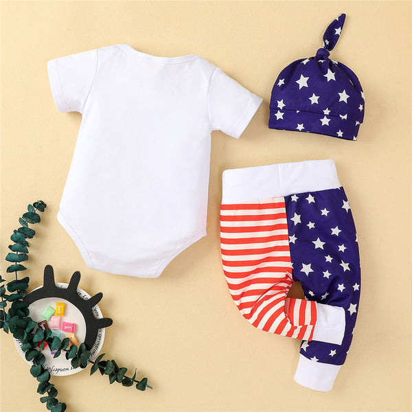 Baby Unisex Short Sleeve Star Letter Striped Romper & Pants & Hat cheap baby clothes wholesale
