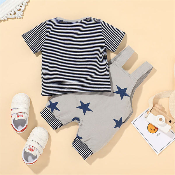Baby Boys Short Sleeve Striped Casual Top & Star Printed Romper wholesale baby items